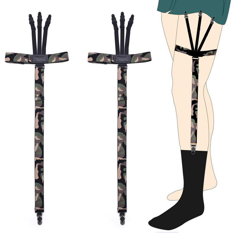 Cool Camouflage Shirt Stays Holders For Men Military Soldiers Leg Suspenders Straps Sock Garters Non-slip Clamp Locking Clip