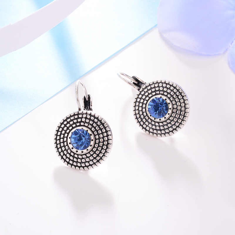 2018 Vintage Silver Earrings for Women Simple Blue Zircon Charms Statement Clip hanging Earrings Fashion Jewelry Brincos
