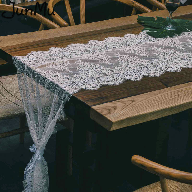 """White Lace Table Runner Floral Bridal Shower Rustic Wedding Party Decor 14/""""x120/"""""""