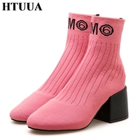 HTUUA Women Elastic Knitted Sock Boots Slip On Thick High Heels Short Ankle Boots Woman Pumps Ladies Shoes Stiletto Botas SX1471
