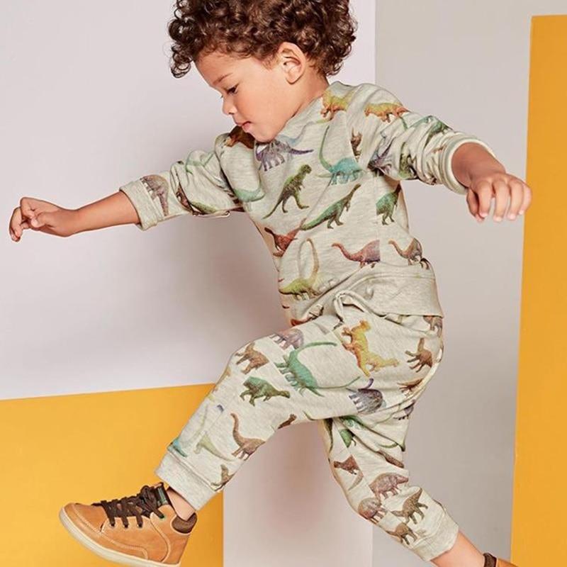 Baby Boys Clothing Sets For Boys 2018 Hot Autumn Cotton Dinosaur Print T-shirt Warm Toddler Knit Childrens Clothe  Set 2PCS 2-6Y burnside men s gypsy knit t shirt