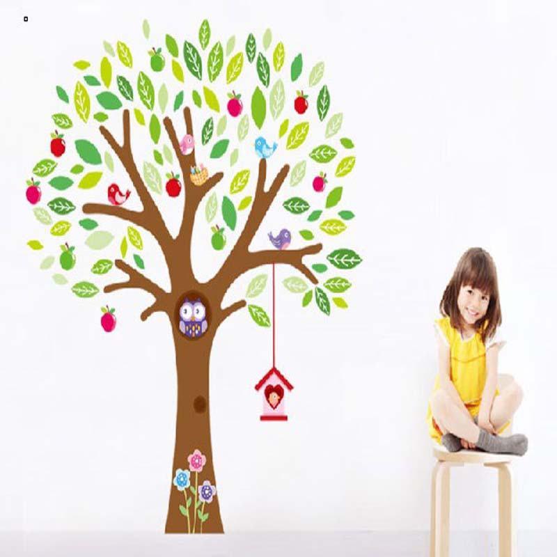 Colorful Animal Tree Wall Stickers For Kids Rooms Decorative Adesivo Wall Decor PVC Wall Sticker For Baby Rooms Hot Sale