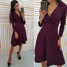 spring and autumn elegant office lady solid new dresses mamaan style long sleeve v-neck knee length female