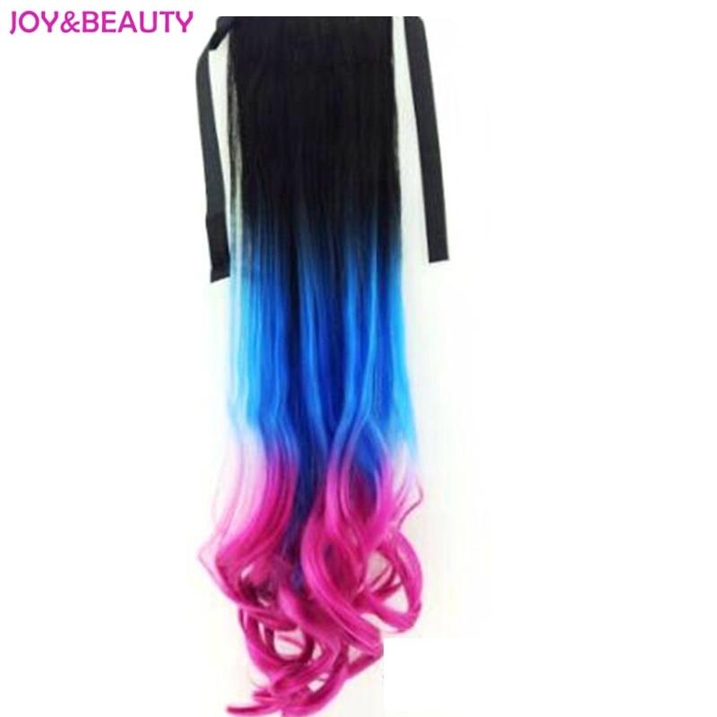 Glädje och skönhet hår sytisk lång vågig slips upp hästsvans klipp i hårförlängning ombre trefärgad hög temperatur fiber 24 tum