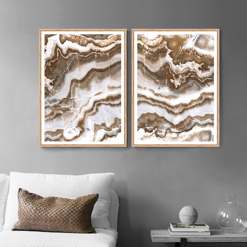 Brown Abstract Painting Marble Modern Home Decor Nordic