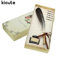 Kicute Vintage Quill Feather Black Dip Pen Writing Ink Set Stationery Gift Box With 5 Nib