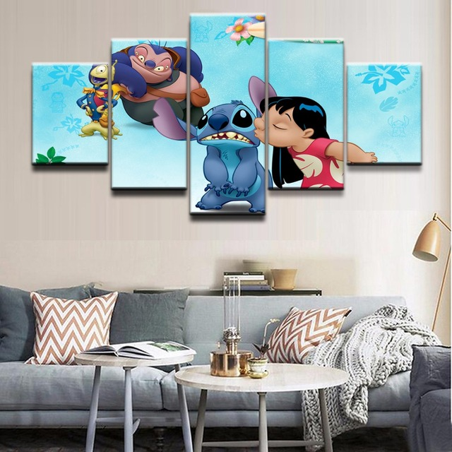 HD Printed Modular Pictures Wall Art Frame 5 Pieces Movie Lilo U0026 Stitch  Character Painting On