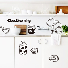 Art design 2015 hot selling environmental removable home decor kitchen milk breakfast wall sticker for or dining room