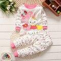 Новый 0-2 возраст детская одежда хлопок 100% одежды девочка мальчик одежда комплект милый Мультфильм ребенка 2 шт.