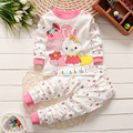 Novo 0-2 anos de idade do bebê roupas de algodão 100% do bebê da menina roupas roupas de bebê menino definir bonito Dos Desenhos Animados do bebê 2 pcs