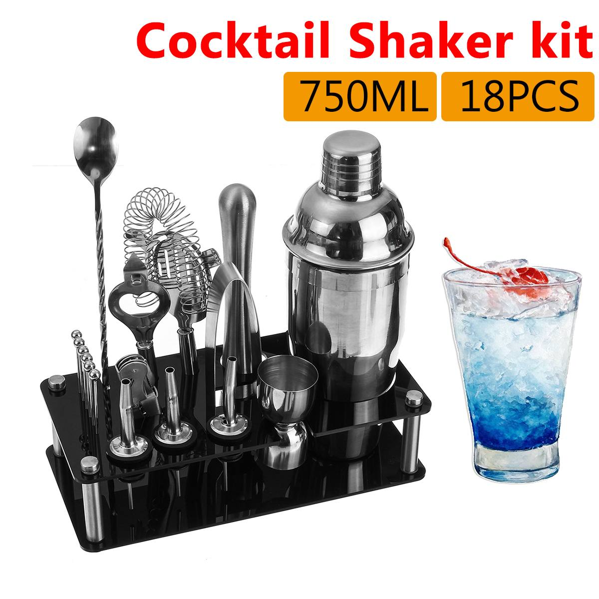 18Pcs/set 750ml Stainless Steel Cocktail Shaker Set Drink Mixer Bartender Kit Bar Set Bar Supplier With Acrylic Stand