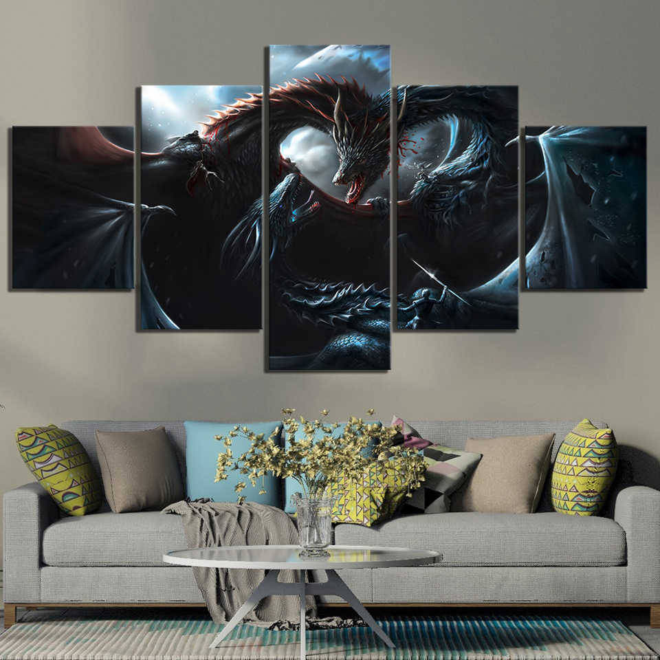 5 Piece Wall Art Dragon Pictures Game of Thrones 8 Movie Poster Paintings A Song of Ice and Fire Artwork Canvas Paintings