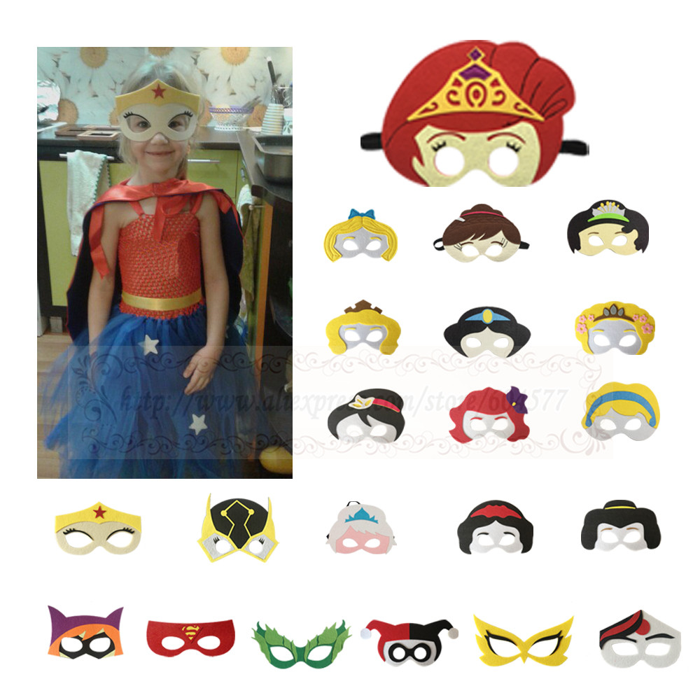 Princess Girls Cosplay Masks Felt Kids Anime Halloween Christmas Party Costumes Masks