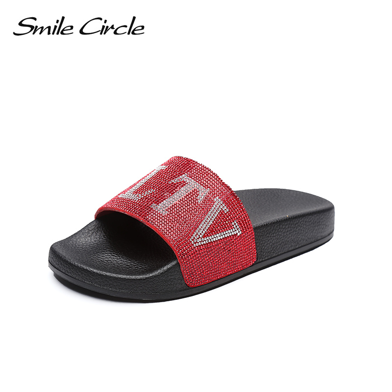 Smile Circle 2018 Summer Fashion Casual flip flop women shoes Flat Beach shoes Soft Soles Rhinestone Slippers woman flip flop women shoes 2018 summer breathable fashion lady s casual shoes lace up girls handmade women woven shoes flip flop footwear 599w