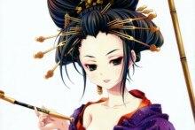 Home decoration girl cartoon animation geisha art sexy girl look smile  Silk Fabric Poster Print DM464