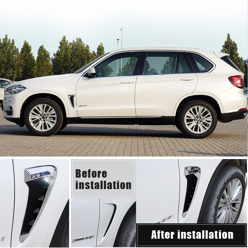 2pcs for BMW Side Wing Air Flow Fender Intake Vent Cover for 2014 2015 2016 2017 BMW X5 F15 Not Fit for 2015 2016 2017 X5M F85 ABS Silver Chrome