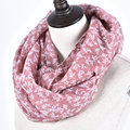 New Fashion Women Solid Small Grasses Chevron Loop Shawl Winter Geometric Print Flowers Infinity Scarf Girl Ring Scarves
