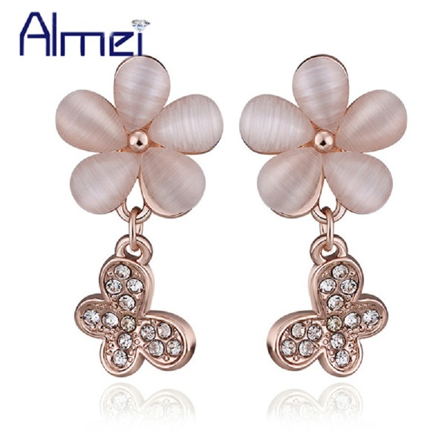 Pink Drop Earrings Rose Gold Plated Wedding Bridal Jewelry