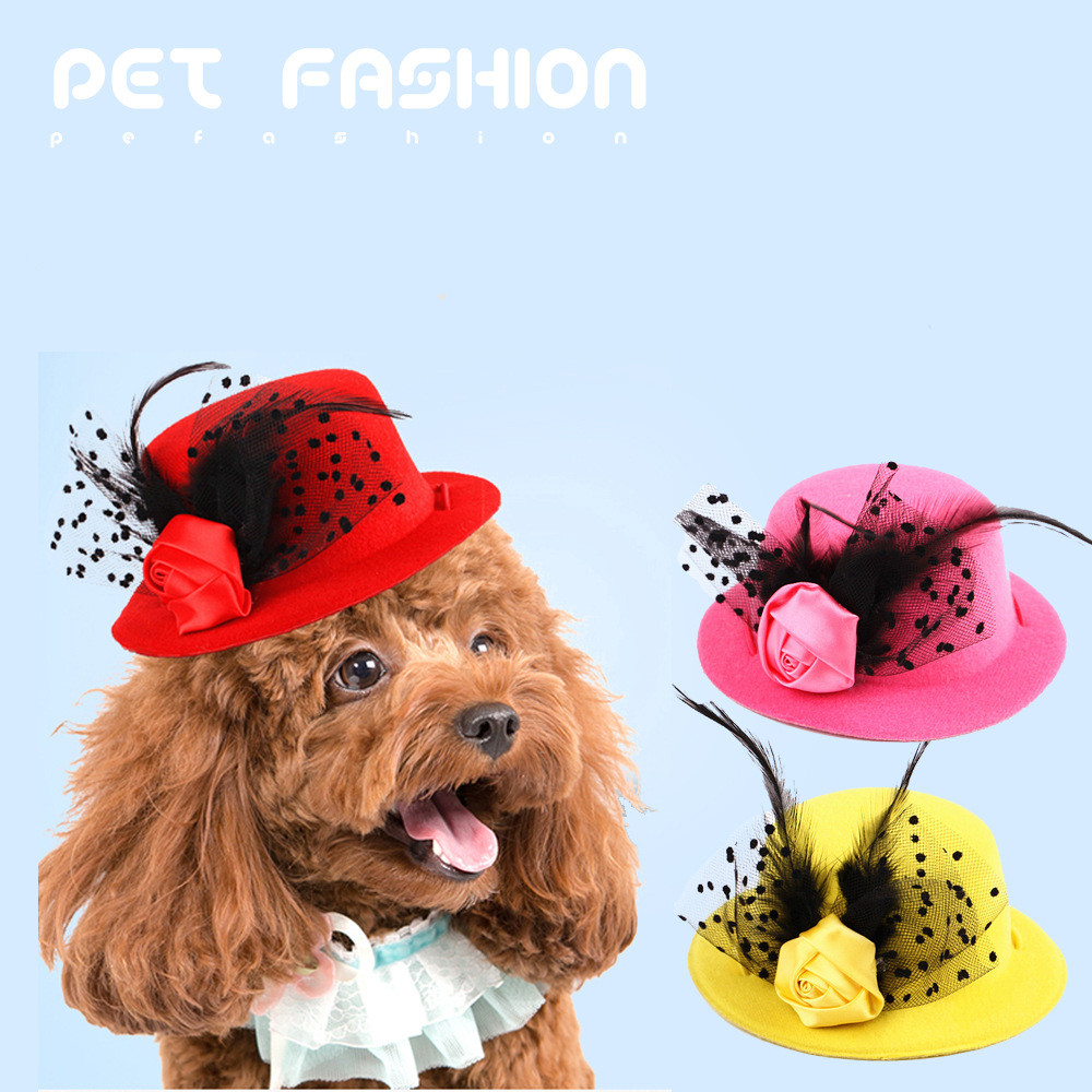 Dog Straw Hat Costume Small Pet Sun Cap for Puppy Cat Ear Accessory Summer Walk