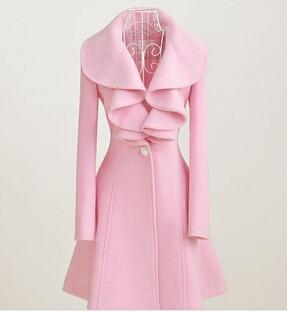 Dámské zimní vlněné kabáty růžové černé volánky límce udržují teplé jedno tlačítko Slim Cut casaco feminino Lady vlněný kabát J16