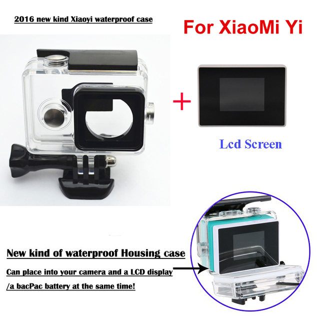 XiaoMi Yi Camera External protector Waterproof Case+1.38 Inch Color TFT LCD display monitor For Xiao Yi accessories Set