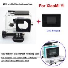Xiaomi yi cámara externa caso protector a prueba de agua + 1.38 pulgadas a color tft lcd monitor de pantalla para xiao yi accesorios set