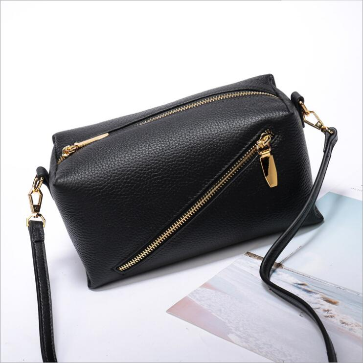 2018 new first layer korean style women's box bag lady's shoulder bag small messenger bag fashion flap bag cowhide leather bag female new genuine leather handbags first layer of leather shoulder bag korean zipper small square bag mobile messenger bags