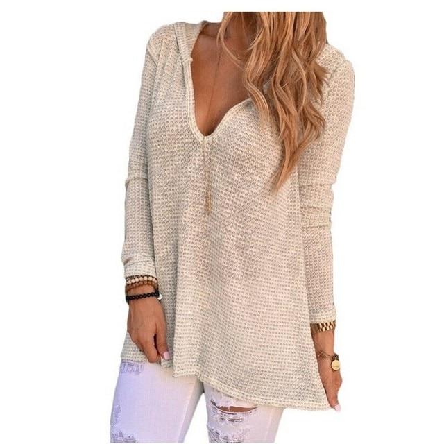 Fall Winter Tops Hollow Out Beige T Shirt Women V Neck Hooded Knitwear Pullover T-shirt Stretch Tee Shirt Femme Poleras De Mujer