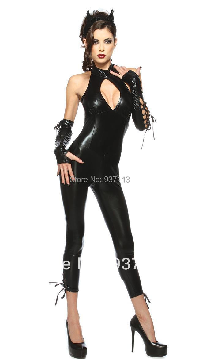 Buy New Hot Selling Sexy Catwoman Costume Catsuit Slim Fit PVC Faux Leather Bodysuit Latex Costume Sexy Night Club Wear