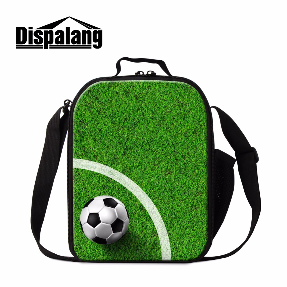 Dispalang Personal Lunch Bag Pattern Soccerly Insulated Cooler Bag for Boys Kids Handbag Lunch Container Small Work Meal Bag Men