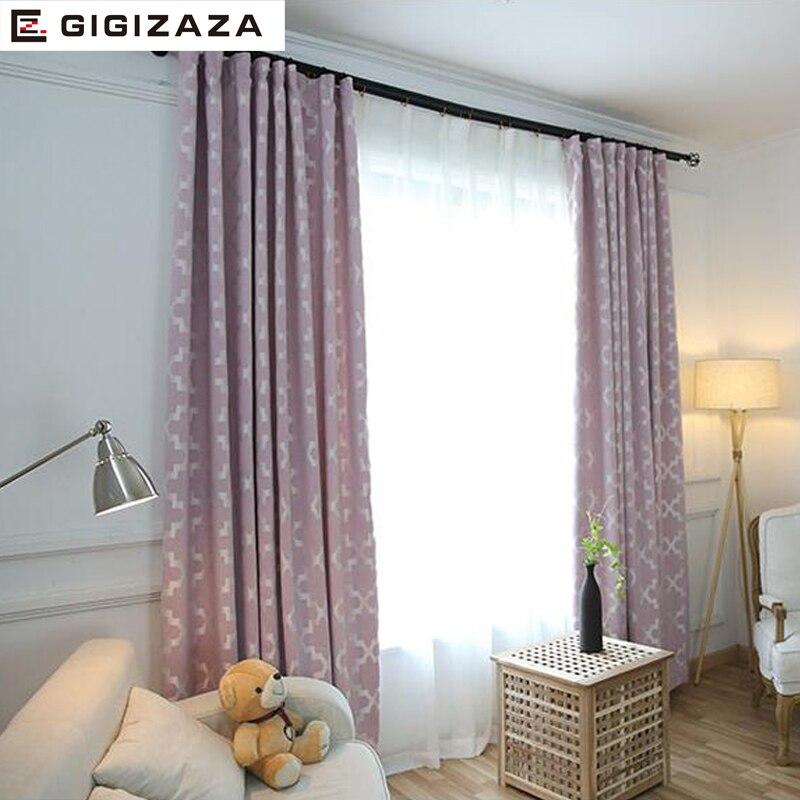 US $26.52 48% OFF|GA Neue Geometrische drucken jalousien stoff vorhang für  wohnzimmer grau rosa GIGIZAZA schwarz heraus benutzerdefinierte größe ...