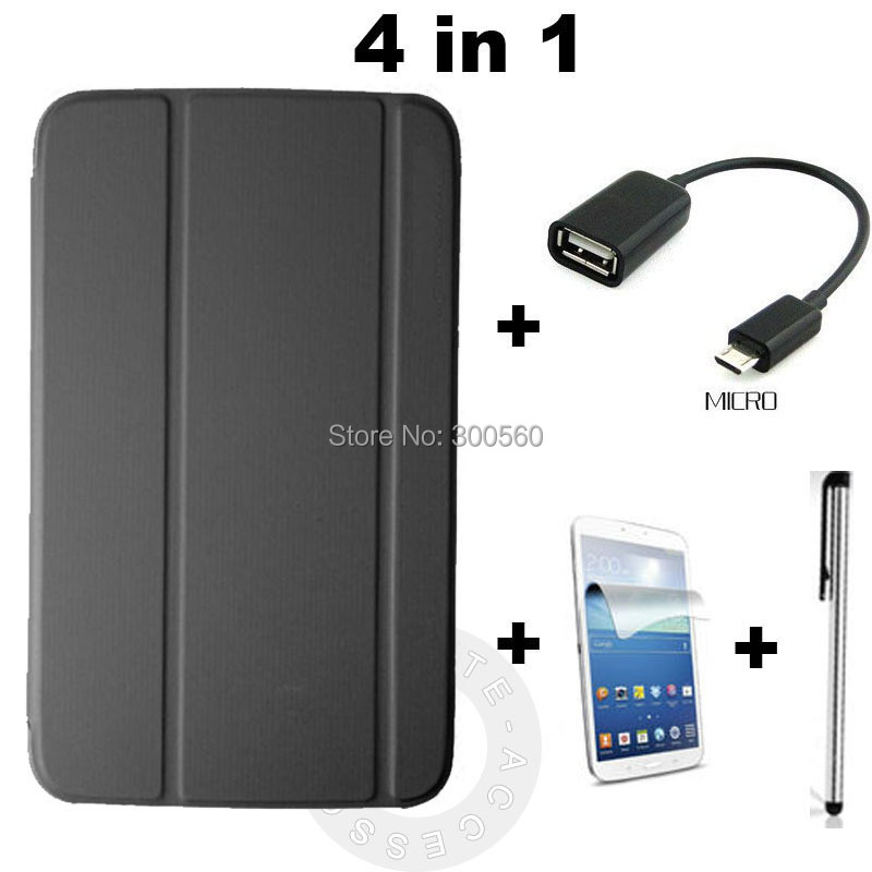 4 in 1,For samsung Galaxy Tab3 T310 T311 8 inch, 1:1 office PU Leather Flip Stand Cover Case + OTG + Stylus + Screen protector