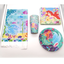61pcs/lot Kids Girls Favors Mermaid Theme Napkins Happy Baby Shower Tableware Birthday Party Cups Plates Decoration Tablecover