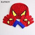 Luvas + chapéu do Inverno Quente da Venda das Crianças Dos Desenhos Animados Asseclas Luva Conjuntos de chapéu Moda Crianças Quentes Do Bebê de Malha Caps chapéu Spiderman luvas