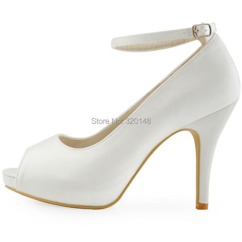 Fashion Woman Shoes HP1543I White Ivory Peep Toe Pumps Women ...