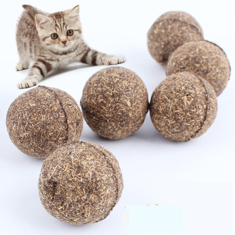 Pet produkter Cat Toy Naturlig Catnip Ball Menthol Flavour Cat Behandler 100% Spiselige Katte-Go-Crazy Behandler Cat Training Tools