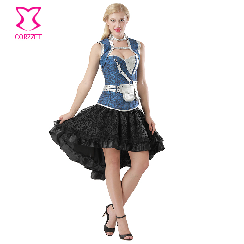 f88bcea32d0 6XL Blue Floral Jacquard Steel Boned Plus Size Corset Skirt Steampunk  Clothing Victorian Corpetes E Corselet Overbust Sexy Dress-in Bustiers   Corsets  from ...