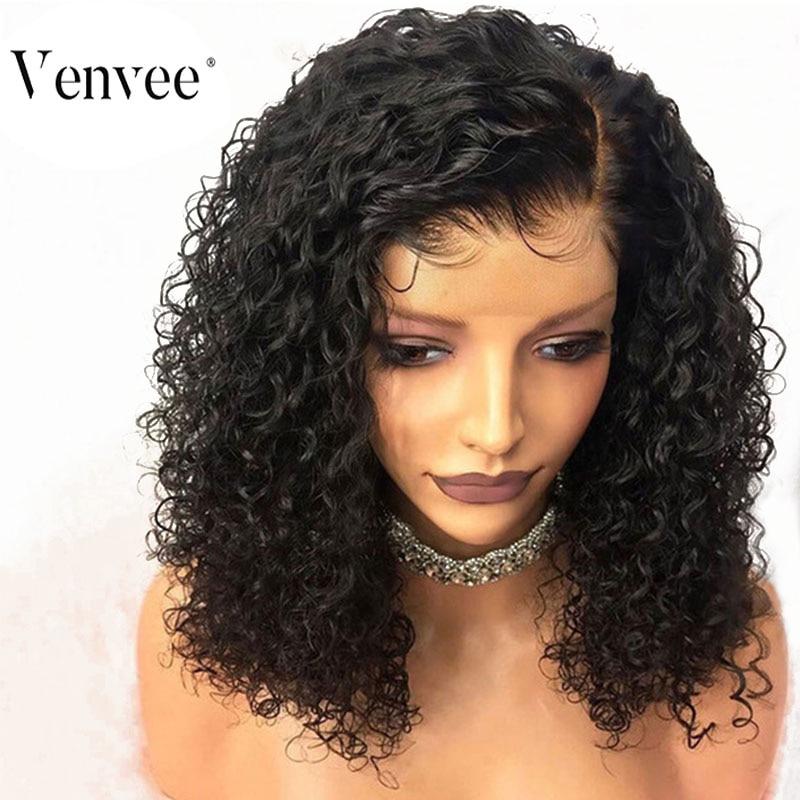 Deep Curly Short Bob 13x6 Lace Front Human Hair Wigs For Women 150% Density Natural Black Brazilian Remy Hair Wigs Venvee