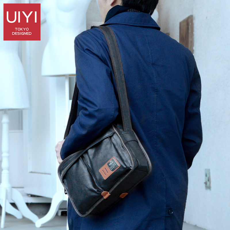 UIYI PU Leather bag Men Messenger Bags Casual Multifunction shoulder Crossbody Bags Handbags iPad men leather bag Black #UYX7059 стоимость