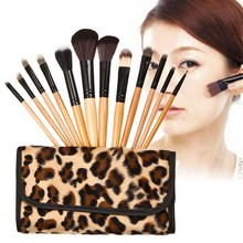 2016 High Quality 1 Set/12 Pcs Pro Makeup Brush Eyeshadow Nylon Fiber Eyebrow Cosmetic Tool Brushes With Leopard Bag ST1#
