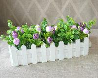 1 takım 30 cm Ahşap çit vazo + çiçekler Eugene çiçek gül ve Papatya yapay çiçek set ipek çiçekler ev masası dekorasyon için