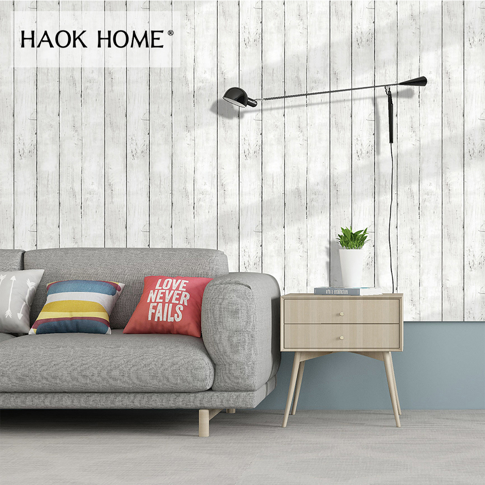 HaokHome Faux Peel and Stick Wood Panel Wallpaper Self Adhesive for wall 3d Off White/Black Sticker Contact Paper Home Decor