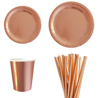 Rose Gold Theme Party Tableware Set Paper Favor Plate Cups Paper Cake Cup Liners For Kids Birthday Baby Shower Party Supply