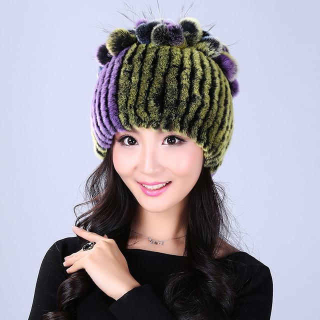 Russian Hat Women's Winter Hats With Natural Real Fur Female rabbit Fur Real Knitted Cap Pineapple Platter Fur Hat Women Beanies