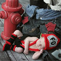 2016 bonito acessórios de crochê da foto do bebê hats & calças & shoes baby boy baby clothing foto neonatal fotografia de bombeiro acesso