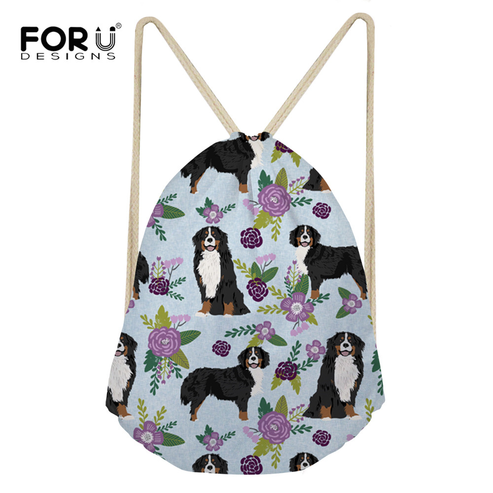 FORUDESIGNS Bernese Mountain Dog Pet Design Drawstring Backpack Personality Large Capacity Casual Daypack Fashion Accessories
