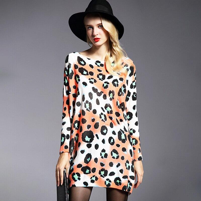 Módní dámské pletené šaty Nadměrná pletená košile Vlněné svetry Neformální dlouhé rukávy Leopard s tištěnými svetry plus velikosti 6119