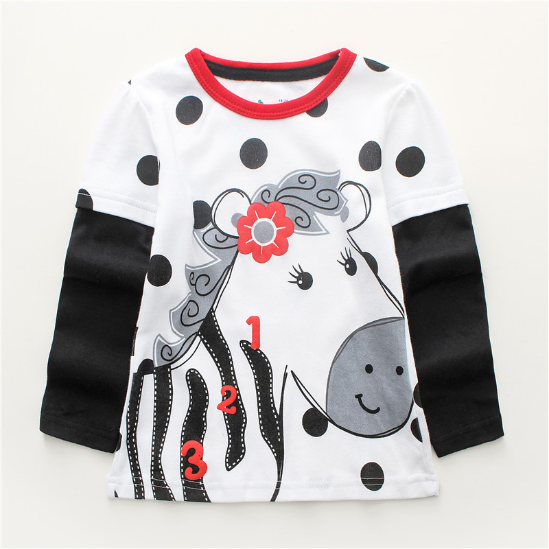 f2f0cbcf9d1 Jumping meters Kids Girls Tshirt autumn cotton brand baby girl clothes long  sleeve polka dot horse o-neck Toddler Tees Tops