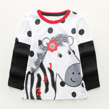 Jumping meters Kids Girls Tshirt autumn cotton brand baby girl clothes  long sleeve polka dot horse o-neck Toddler Tees Tops