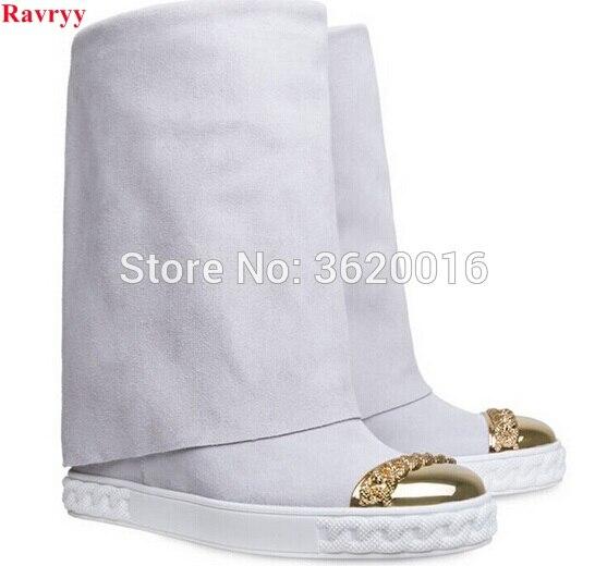 Ravryy Модные женские из металла с круглым носком до колена высокие сапоги женские увеличивающие рост Сапоги и ботинки для девочек Демисезонн... ...